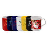 This promotional mug can be branded with a 1 colour print and is available in white, black, navy blue, purple, red and yellow