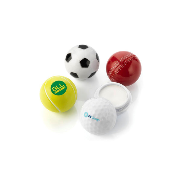 This promotional sunblock comes in football, golf ball, tenns ball or cricket ball shapes and can be branded with a 1 colour print to the lid