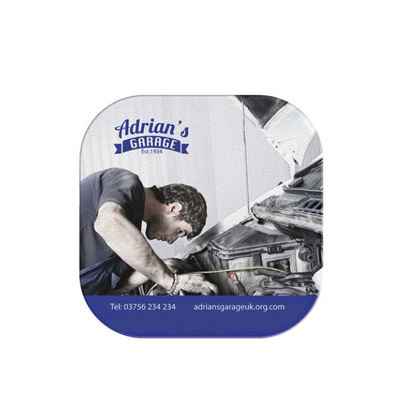 This promotional coaster is branded with a full colour print moulded into the product. This square coaster also features a non-slip base