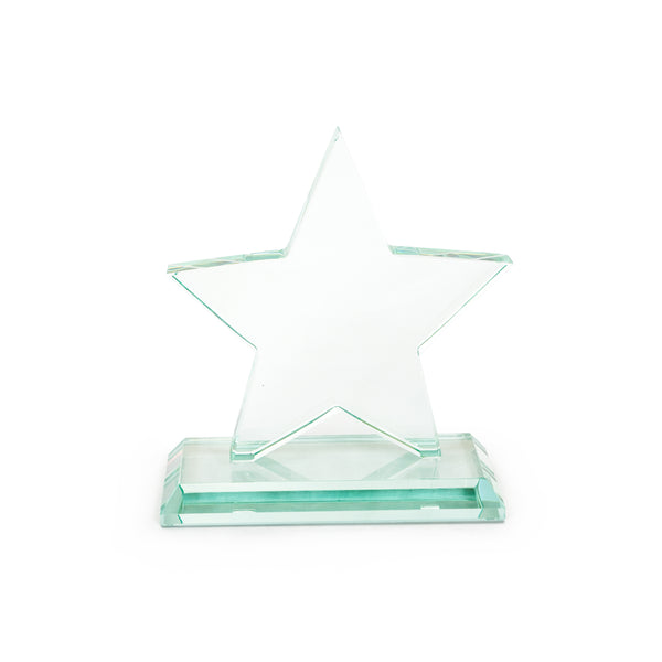 This promotional star award is made from jade glass giving it a green tint. This award is branded with your logo and message to the front and supplied in a gift box