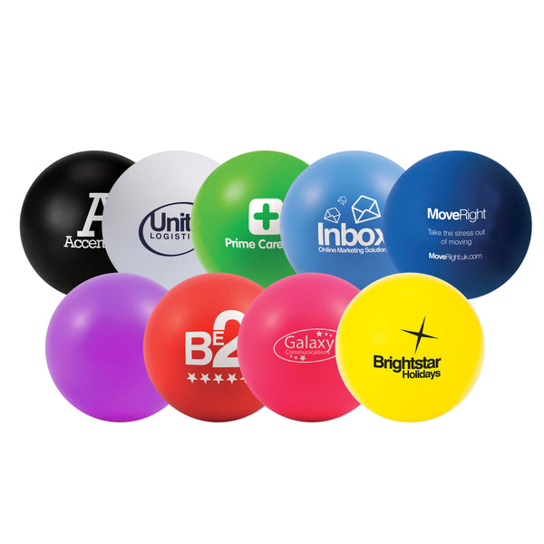 These promotional stress balls can be branded with a 1 colour print. These stress toys are available in a wide range of colours