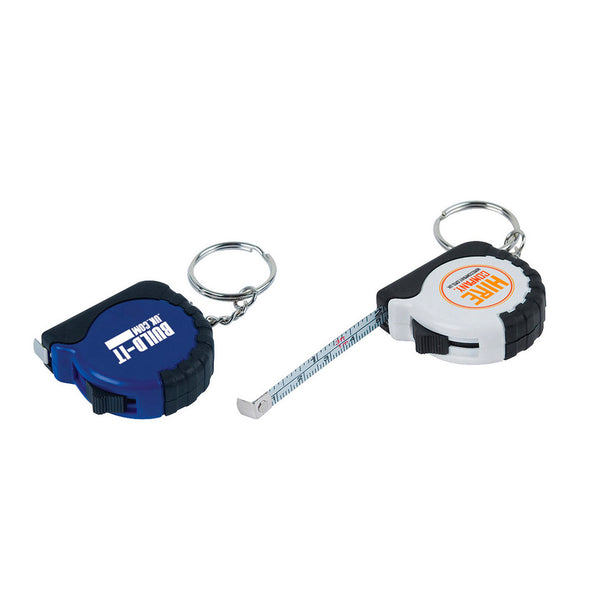 This promotional tape measure keyring can be branded with your logo printed to the center. Available in blue and white.