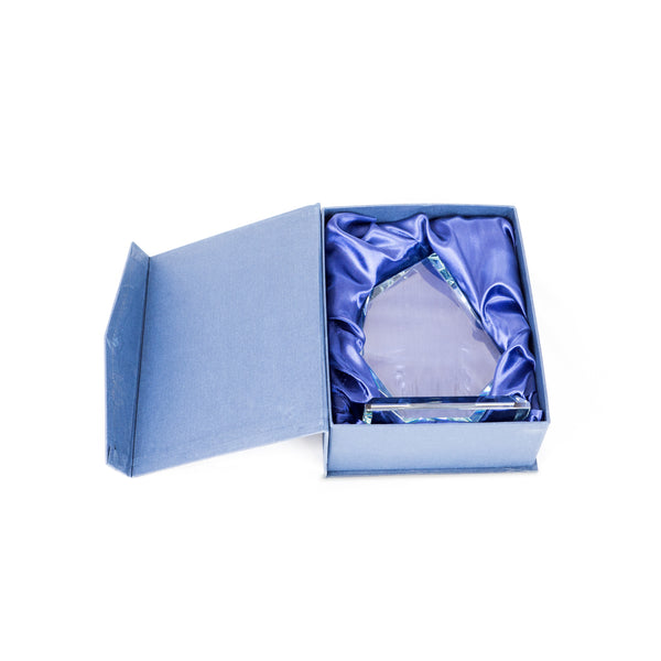 This promotional award is made from clear glass. This award is branded with your logo and message to the front and is supplied in a presentation box