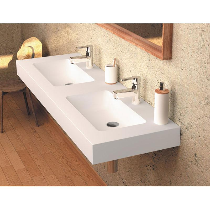 Lavabo suspendido Solid Surface CARDIFF MURO DOBLE