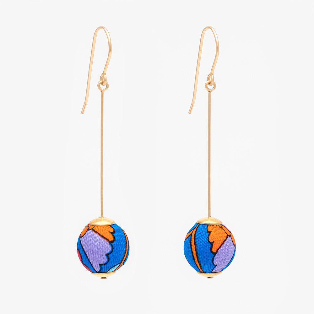 Liberty Peacock Garden Pin Earrings Blue