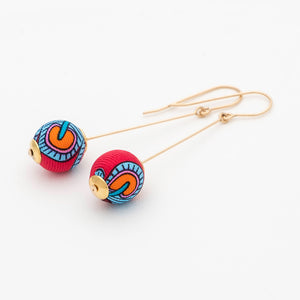 Liberty Peacock Garden Pin Earrings Red