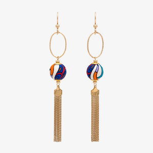 Liberty Peacock Garden Tassel Earrings