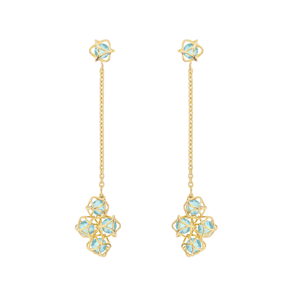 EMBRACE COTE D'AZUR Cloud Long Earrings 18ct Yellow Gold