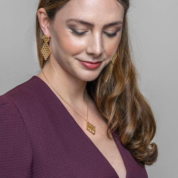 RESONANCE Earrings With Pendant 18ct Yellow Gold