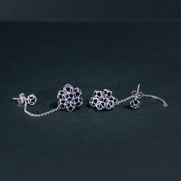 EMBRACE SILVER Flower Long Earrings 4 mm