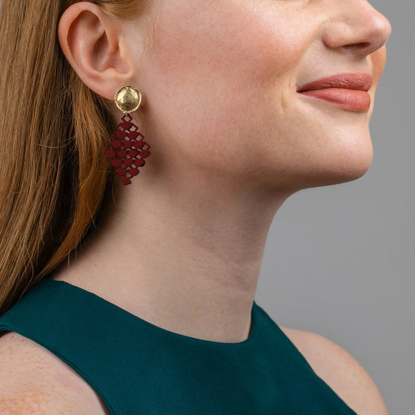 FABNORA | Bordeaux Red | Earrings Mini