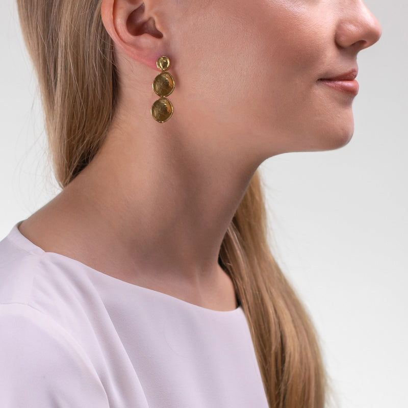 HERITAGE Earrings Double Pendant M Gold