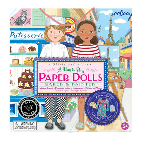 eeBoo Baker and Painter Paper Doll Set