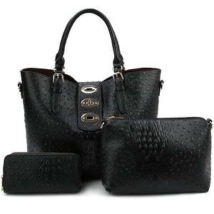 Ostrich And Croc 3 IN 1 Tote Set