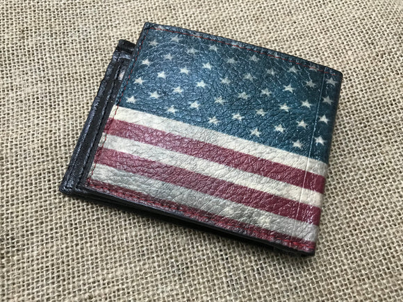 Vintage American Flag Leather Wallet