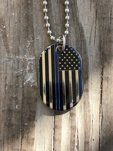Blue Lives Matter Flag Dog Tag Necklace