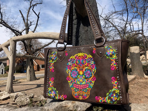 Montana West Sugar Skull Concealed Carry Tote