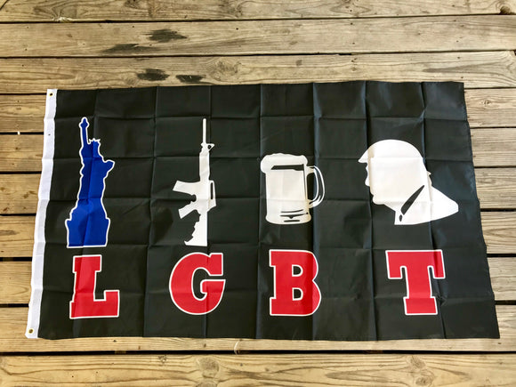 Liberty Guns Beer and Donald Trump Flag 2020