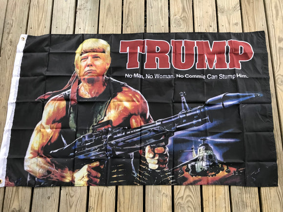 Donald Trump Rambo Bazooka Flag