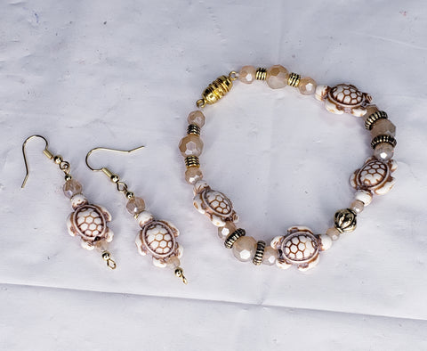 Handcrafted Artisan Bracelet & Earrings Sets - Made with Semi Precious Gemstones