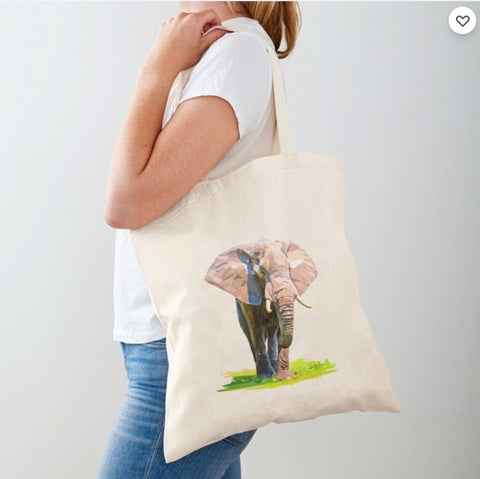 Majestic Elephant Cotton Tote Bag/ Donate to the WWF