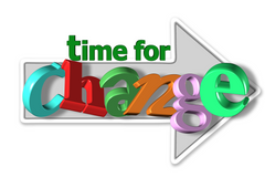 Time for change words, in shape of an arrow