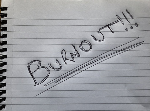 Photo of a writing pad with the word burnout on it