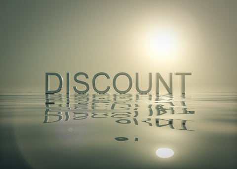 poster showing the word discount in gray