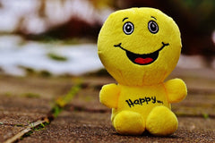 Happy smiling face of a cuddly yellow teddy