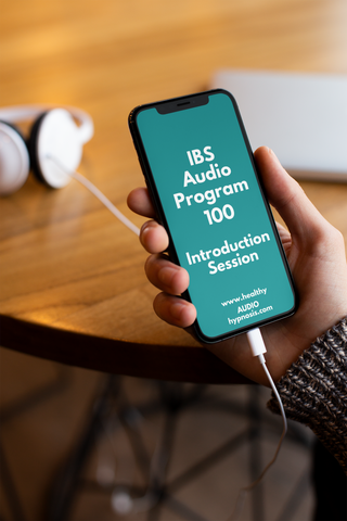 iPhone and earphones with IBS Audio Program 100 on screen