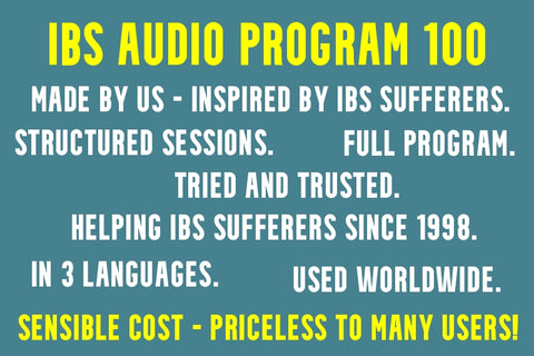 Teal background banner with benefits of IBS Audio Program 100 written