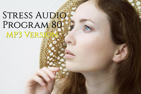 Photo of woman looking thoughtfully at the words Stress Audio Program 80