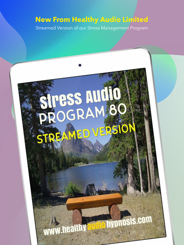 Stress Audio Program pictured on iPhone screen