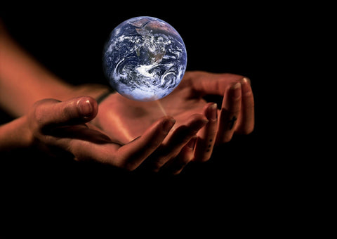 Picture is of a glass world hovering over open hands of a human