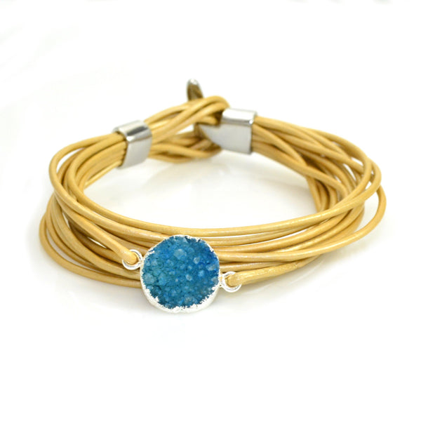 Druzy Leather Bracelet Gold and Blue