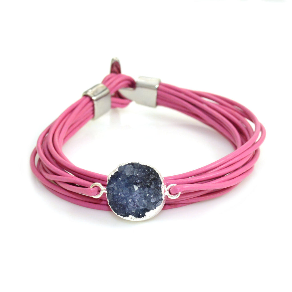 Druzy Leather Bracelet Pink and Blue