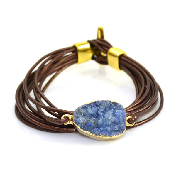 Druzy Leather Bracelet Brown and Blue