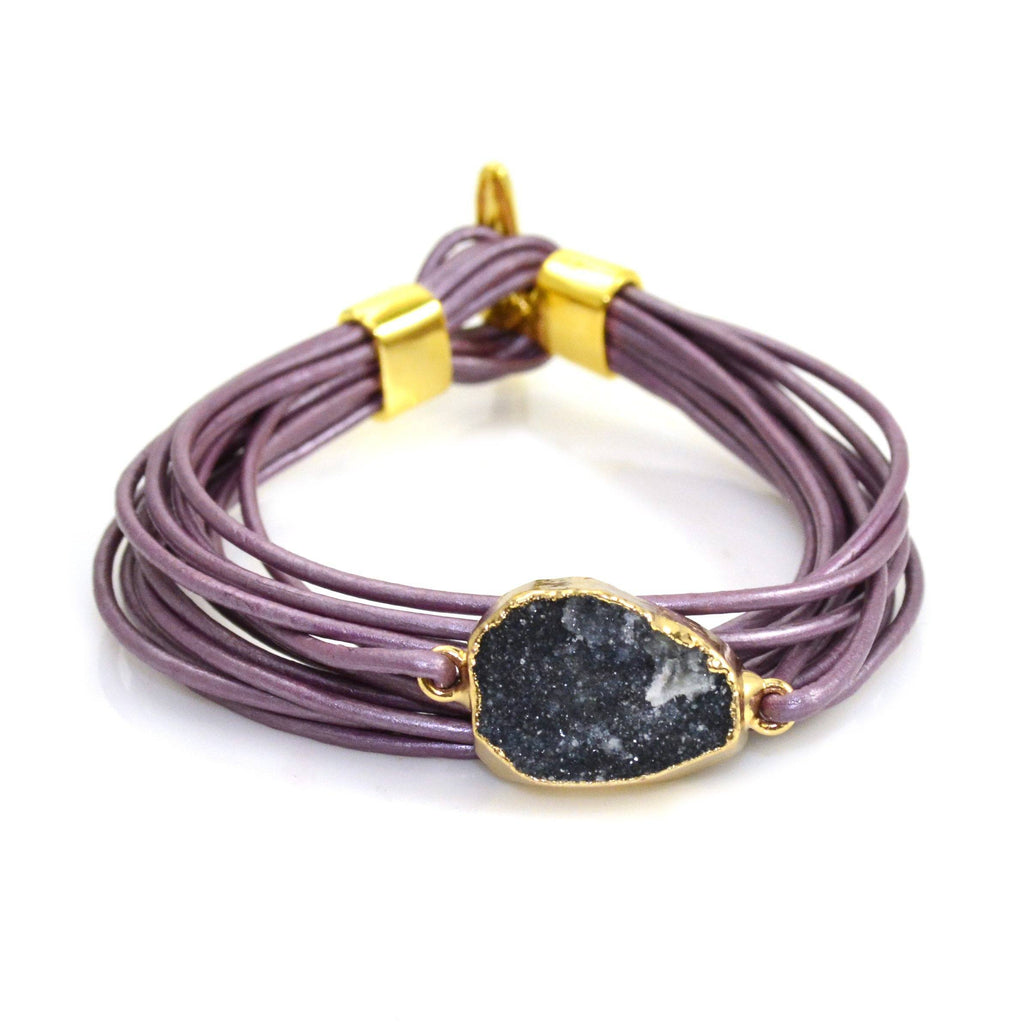 Druzy Leather Bracelet Purple and Navy