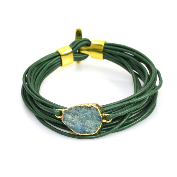 Druzy Leather Bracelet Green and Gold