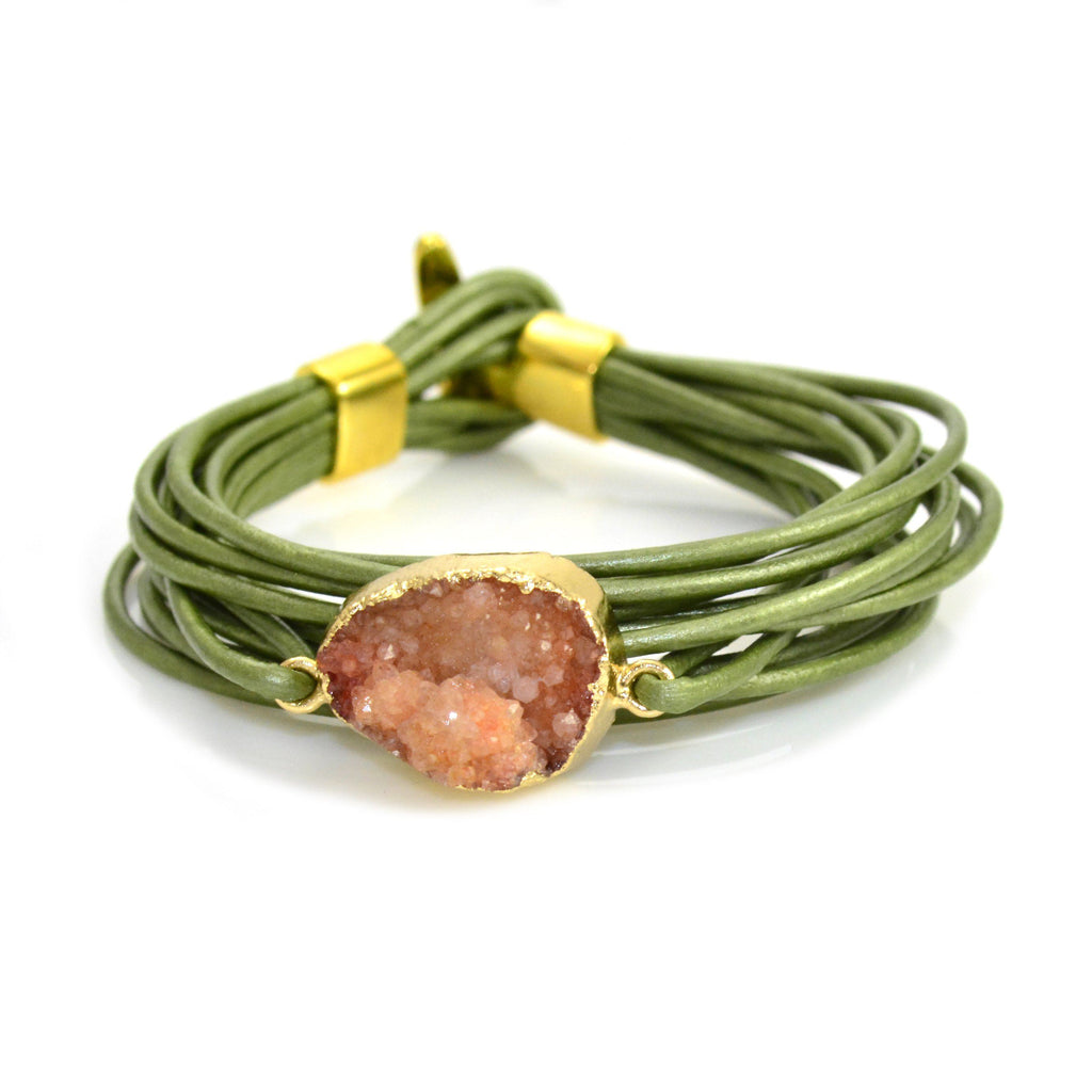 Druzy Leather Bracelet Green and Coral