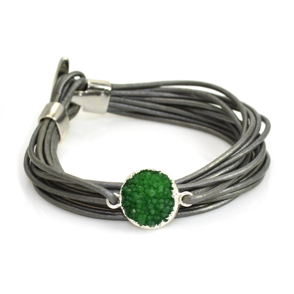 Druzy Leather Bracelet Grey and Green