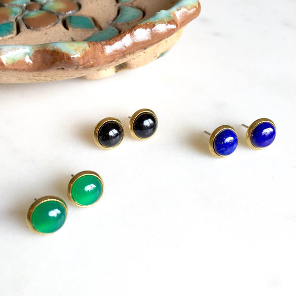 Cabochon Brass Stud Earrings