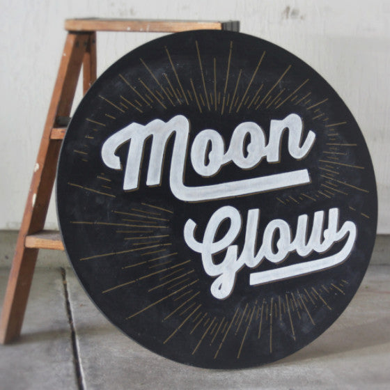 Moon Glow on Wood Sign