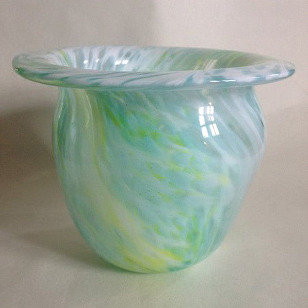 Handblown Glass Vase/Lime Green and Aqua Pulled