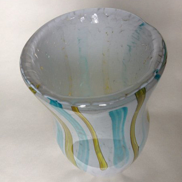 Handblown Glass Vase/White with Aqua and Yellow Stripes