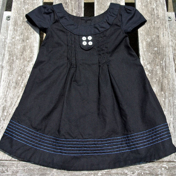 Girls Black Pintuck Dress