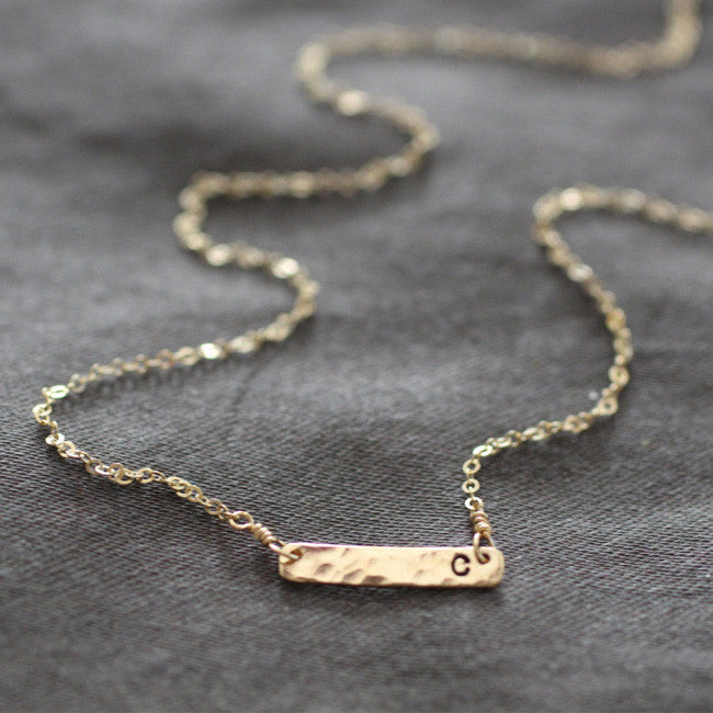 Gold Bar Customized Initial Choker Necklace