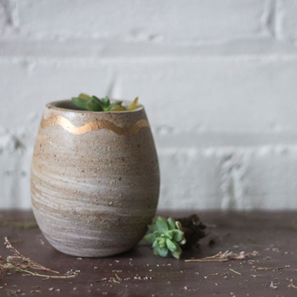 Gold Squiggle Planter