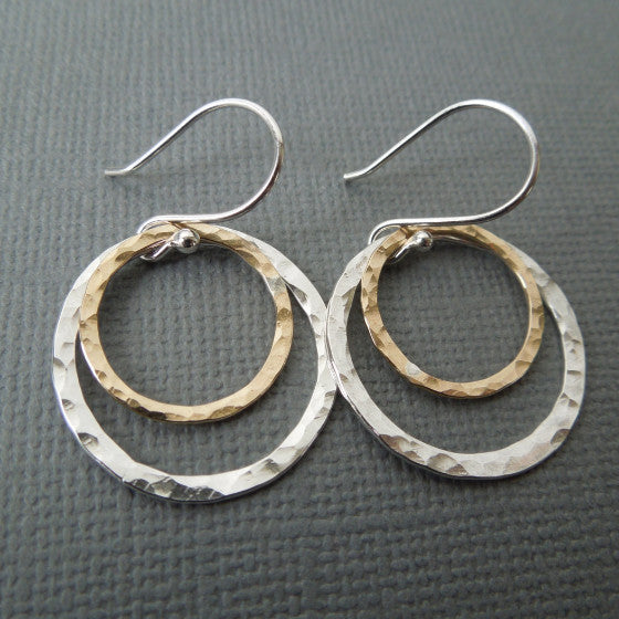 hammered mixed metal circle earrings