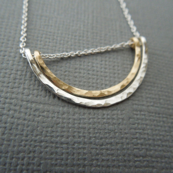 Double Arch Mixed Metal Necklace